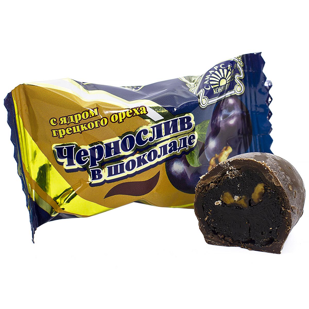 Конфеты чернослив в шоколаде с грецким орехом, весовые