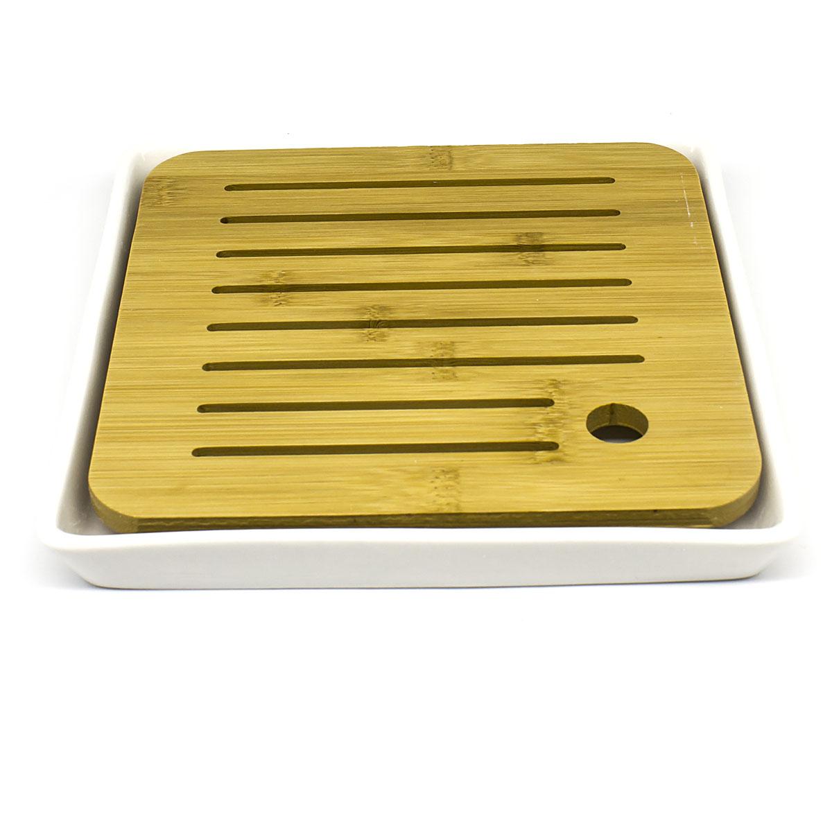 Чабань квадратная (бамбук и фарфор), 21х21х3 см