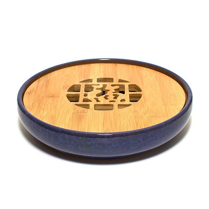 Чайный поднос из керамики и бамбука
