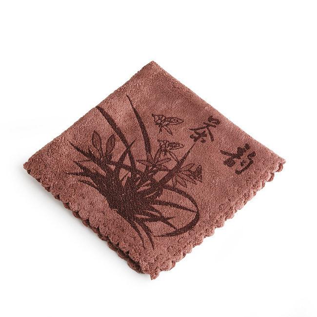 """Полотенце для чайной церемонии """"Орхидея"""" 29 х 29 см (коричневое)"""