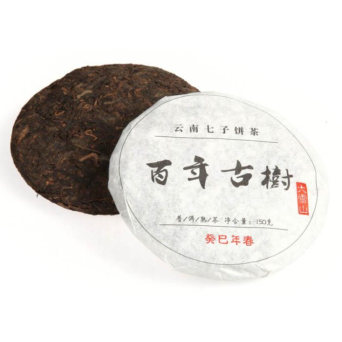 Шу Пуэр Бай Ниень Гушу, фабрика Лянхэ, 2013 г., блин, 150 гр.
