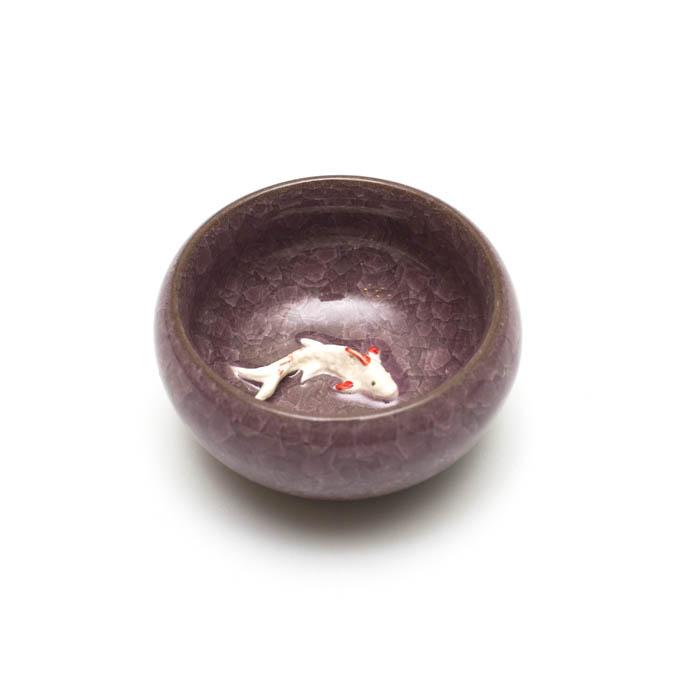 """Пиала глиняная """"Рыба"""" чайная роза 3D, 40 мл. d-6 см."""