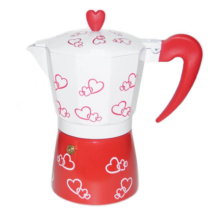 Гейзерная кофеварка с сердечками, 300 мл от 101 Чай