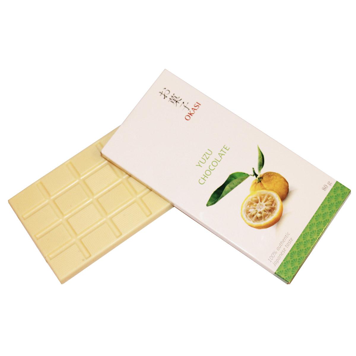 Шоколад Okasi с юдзу, плитка, 80 г alpen gold шоколад белый с миндалем и кокосовой стружкой 90 г