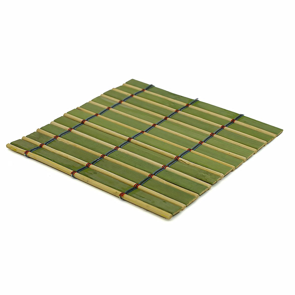Набор чайных циновок (бамбук), салатовые, 10 х 10 см, 5 шт/упак набор чайных циновок бамбук красные двухцветные 10 х 10 см 5 шт упак