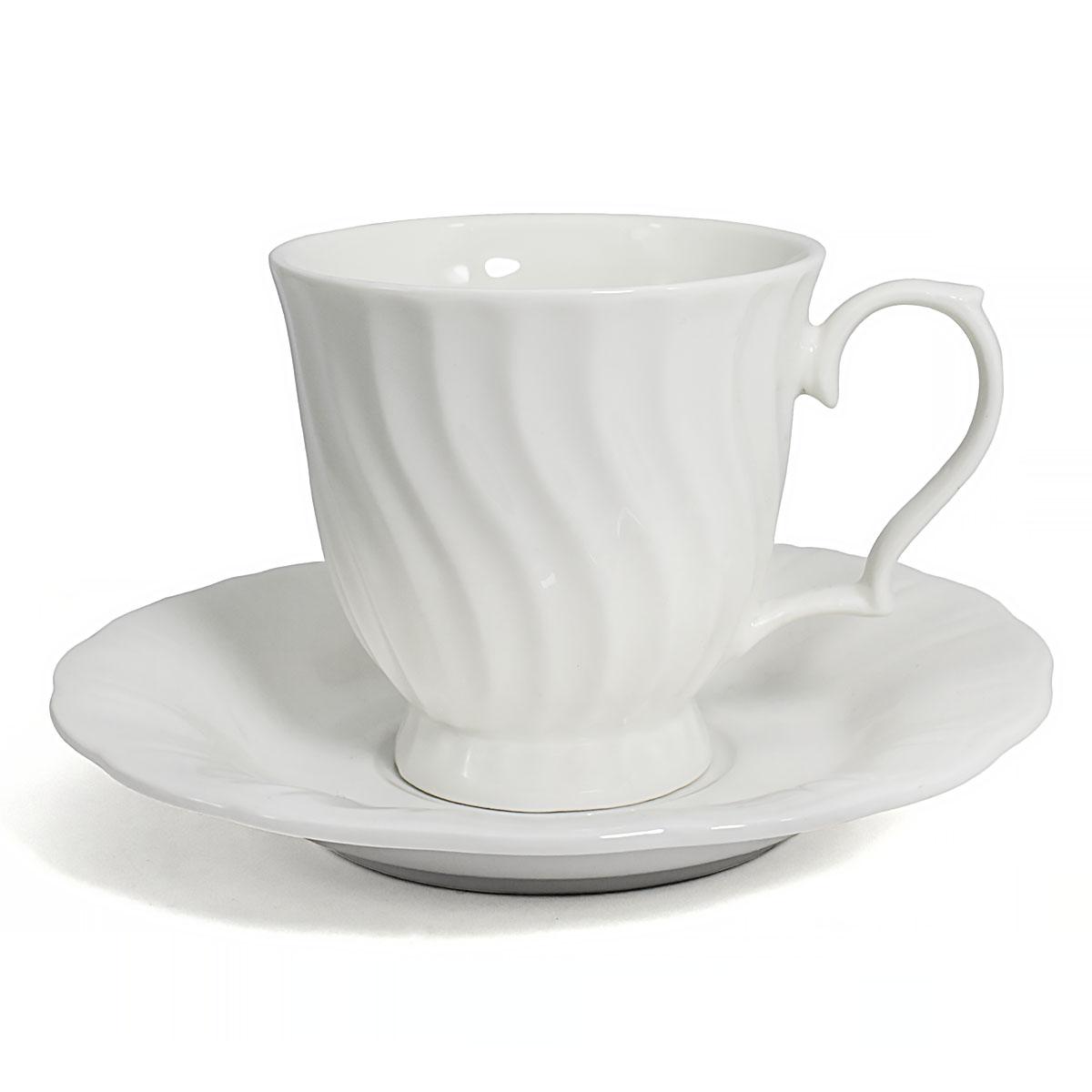 Чайная пара Витая, фарфор, 250 мл чайная пара cmielow rococo 250 мл 2 предмета