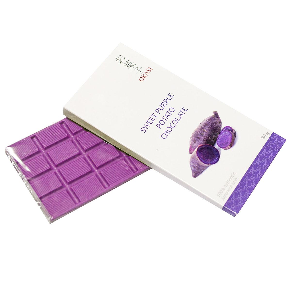 Шоколад Okasi с бататом фиолетовым, плитка, 80 г alpen gold шоколад белый с миндалем и кокосовой стружкой 90 г