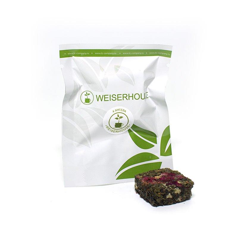 Зеленый ароматизированный чай 4 ангела, прессованный в кубиках (5-7 гр.) в инд. упак.