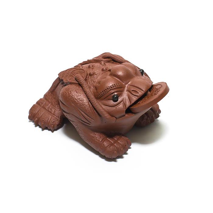 """Глиняная фигурка для чайной церемонии """"Жаба с монеткой"""""""
