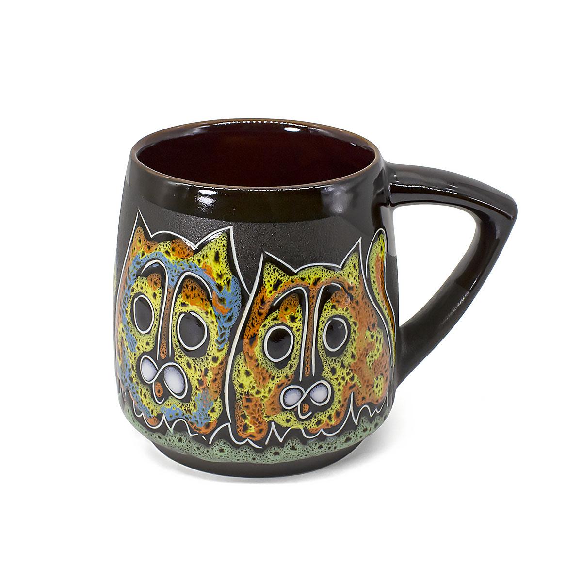 Чашка глиняная Котики, 400 мл