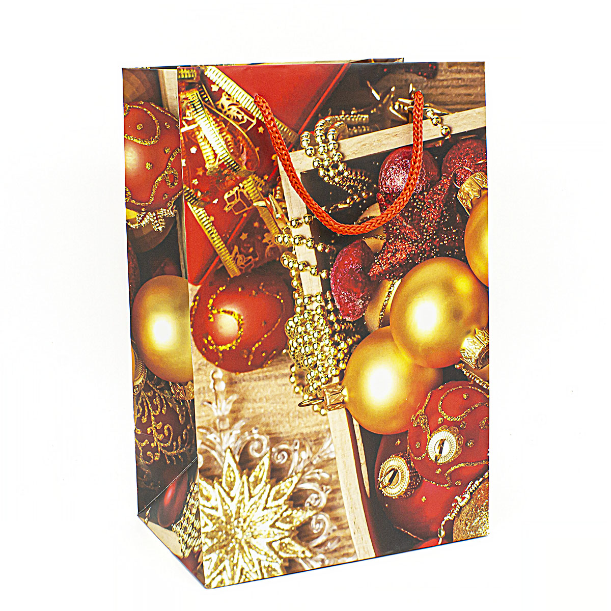 Пакет подарочный Новогодние игрушки, 23х15 см набор для вышивания крестом riolis новогодние игрушки снеговик и медведь 8 см х 13 см
