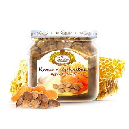 Курага и абрикосовые ядра в меду Te-Gusto, 300 г te gusto миндаль и инжир в меду 300 г
