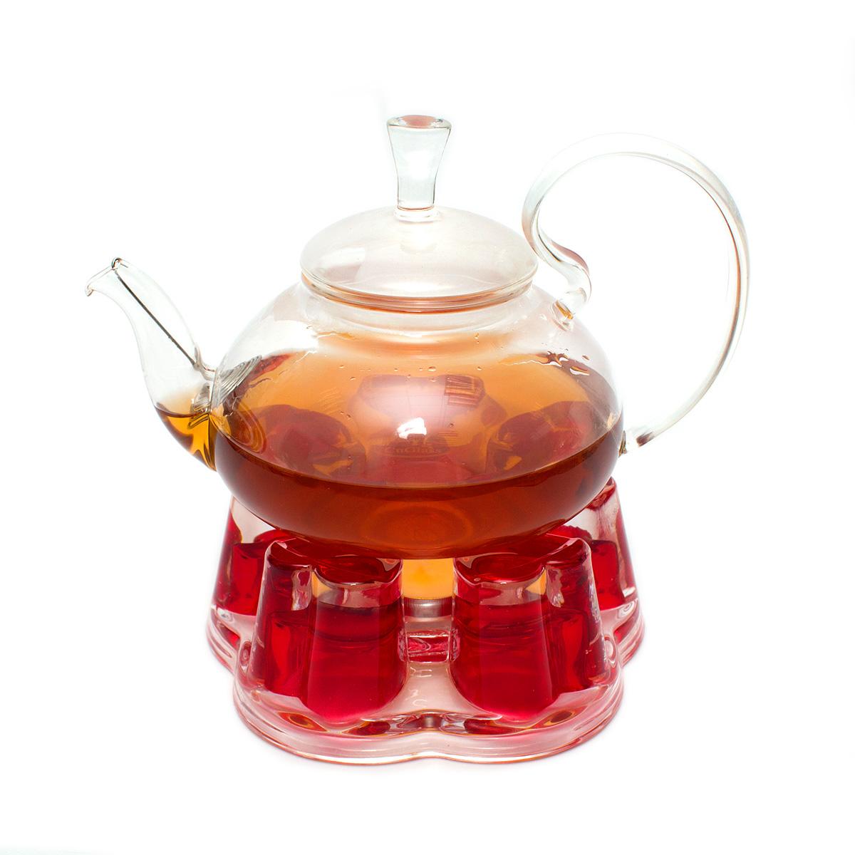 Набор: чайник Астра 680 мл и подставка-подогреватель Агава красная